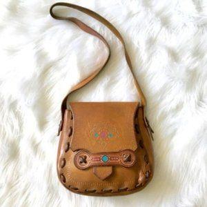 Leather Saddle Bag Vintage Decorated